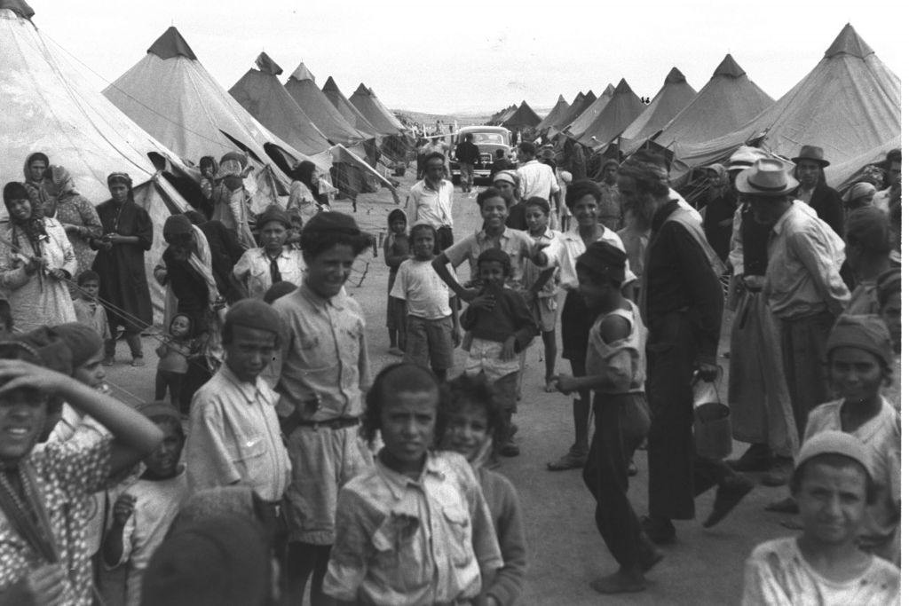 Yemenite immigrants in a camp near Ein Shemer in 1950. (Pinn Hans/GPO)