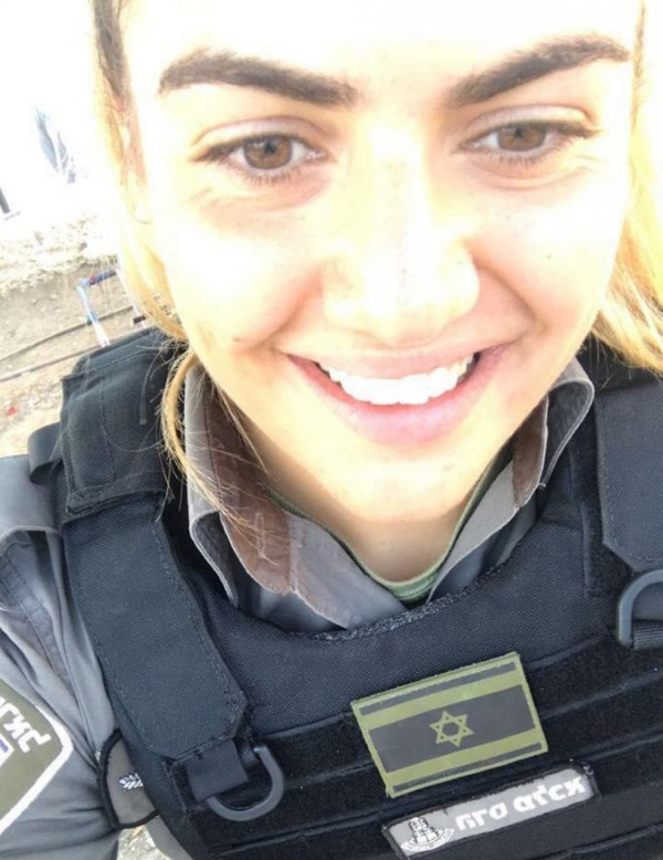 "S/Sgt. Hadas Malka, z""l, who was murdered on Friday in Jerusalem. She took this selfie some 20 minutes before an Arab terrorist stabbed her to death. She was 23."