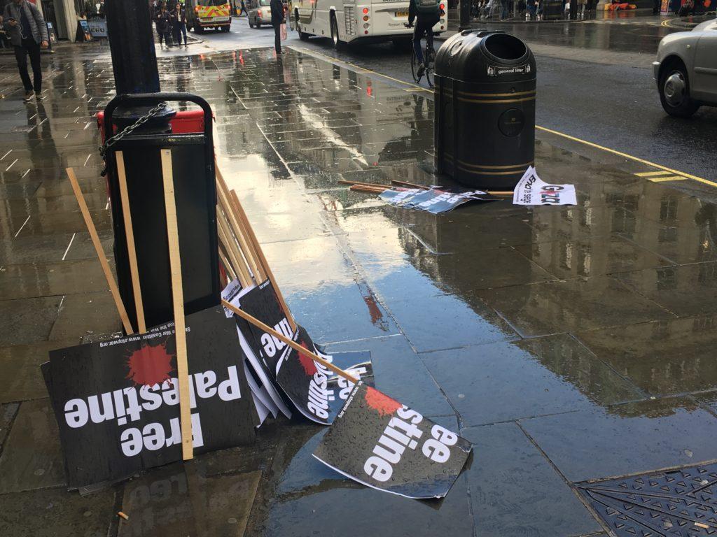rain anti-Israel protest
